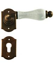 Klamka Praga 2-20 z rozetą na wkładkę, porcelana kremowa spękana