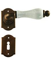 Klamka Praga 2-20 z rozetą na klucz, porcelana kremowa spękana