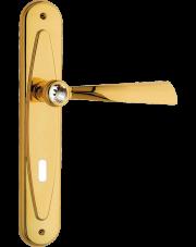 Klamka Elika Crystal z otworem na klucz, pozłacany błyszczący