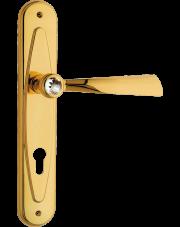 Klamka Elika Crystal z otworem na wkładkę, pozłacany błyszczący